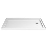 "DreamLine DL-6973R-04FR Infinity-Z 36""D x 60""W x 74 3/4""H Frosted Sliding Shower Door in Brushed Nickel and Right Drain White Base"