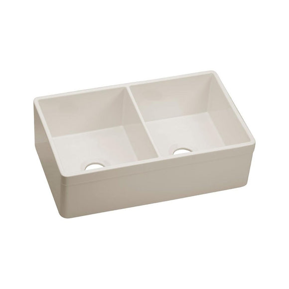 "Elkay SWUF32189BI Fireclay 33"" x 19-15/16"" x 10-1/8"", Double Bowl Farmhouse Kitchen Sink, Biscuit"