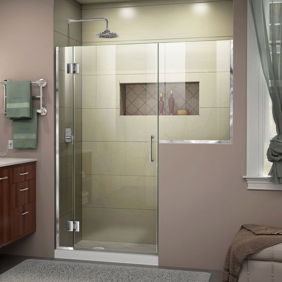 "DreamLine D1243034-01 Unidoor-X 60-60 1/2""W x 72""H Frameless Hinged Shower Door in Chrome"