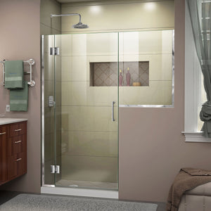 "DreamLine D1232434-01 Unidoor-X 53-53 1/2""W x 72""H Frameless Hinged Shower Door in Chrome"