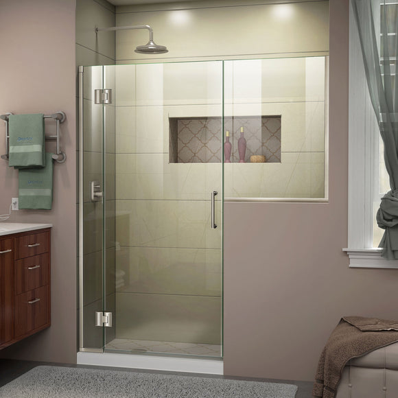 "DreamLine D1282436-04 Unidoor-X 58-58 1/2""W x 72""H Frameless Hinged Shower Door in Brushed Nickel"