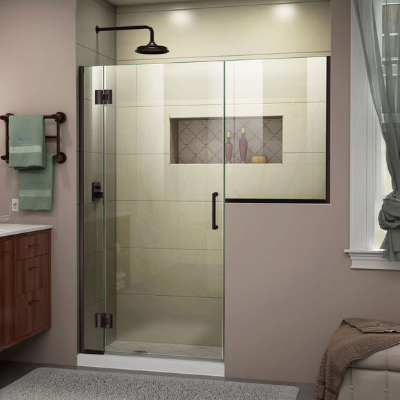 "DreamLine D1282436-06 Unidoor-X 58-58 1/2""W x 72""H Frameless Hinged Shower Door in Oil Rubbed Bronze"