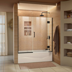 "DreamLine D58580-09 Unidoor-X 58-58 1/2""W x 58""H Frameless Hinged Tub Door in Satin Black"