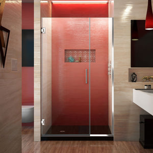 "DreamLine SHDR-244357210-01 Unidoor Plus 43 1/2 - 44""W x 72""H Frameless Hinged Shower Door in Chrome"