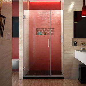 "DreamLine SHDR-244307210-04 Unidoor Plus 43-43 1/2""W x 72""H Frameless Hinged Shower Door in Brushed Nickel"