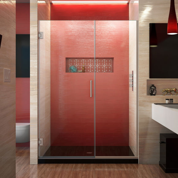 "DreamLine SHDR-245257210-04 Unidoor Plus 52 1/2 - 53""W x 72""H Frameless Hinged Shower Door in Brushed Nickel"