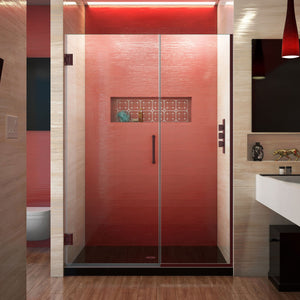 "DreamLine SHDR-244607210-06 Unidoor Plus 46-46 1/2""W x 72""H Frameless Hinged Shower Door in Oil Rubbed Bronze"