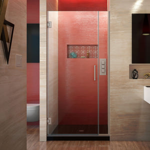 "DreamLine SHDR-243307210-04 Unidoor Plus 33-33 1/2""W x 72""H Frameless Hinged Shower Door in Brushed Nickel"