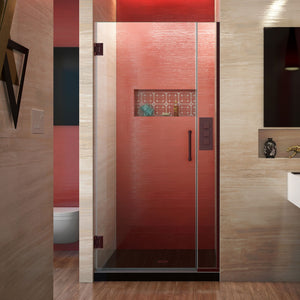 "DreamLine SHDR-243507210-06 Unidoor Plus 35-35 1/2""W x 72""H Frameless Hinged Shower Door in Oil Rubbed Bronze"