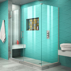 "DreamLine SHEN-24600340-04 Unidoor Plus 60""W x 34 3/8""D x 72""H Frameless Hinged Shower Enclosure in Brushed Nickel"