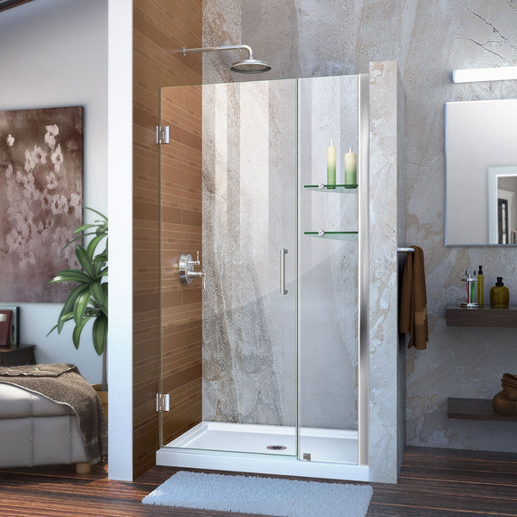 "DreamLine SHDR-20407210S-01 Unidoor 40-41""W x 72""H Frameless Hinged Shower Door with Shelves in Chrome"