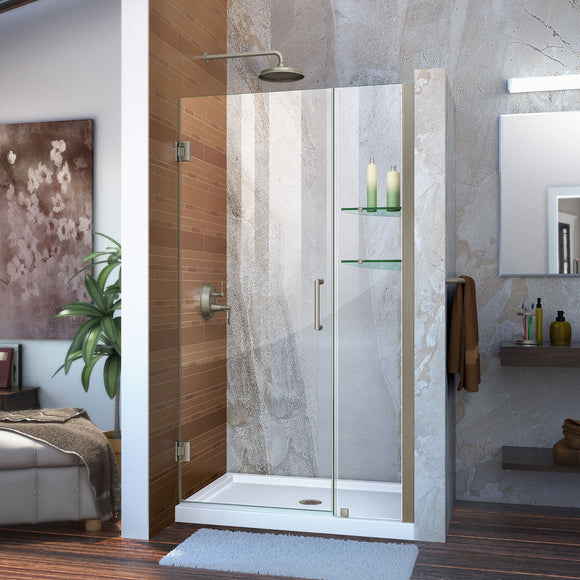 "DreamLine SHDR-20427210S-04 Unidoor 42-43""W x 72""H Frameless Hinged Shower Door with Shelves in Brushed Nickel"