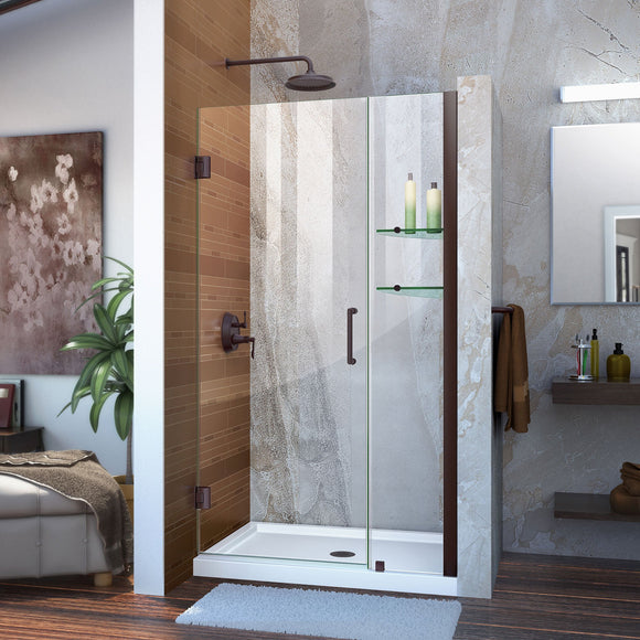 "DreamLine SHDR-20397210S-06 Unidoor 39-40""W x 72""H Frameless Hinged Shower Door with Shelves in Oil Rubbed Bronze"