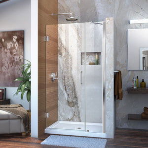 "DreamLine SHDR-20417210-01 Unidoor 41-42""W x 72""H Frameless Hinged Shower Door with Support Arm in Chrome"