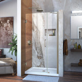 "DreamLine SHDR-20387210-04 Unidoor 38-39""W x 72""H Frameless Hinged Shower Door with Support Arm in Brushed Nickel"