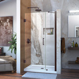 "DreamLine SHDR-20397210-06 Unidoor 39-40""W x 72""H Frameless Hinged Shower Door with Support Arm in Oil Rubbed Bronze"