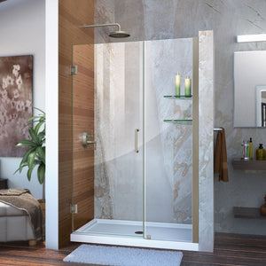 "DreamLine SHDR-20467210S-04 Unidoor 46-47""W x 72""H Frameless Hinged Shower Door with Shelves in Brushed Nickel"