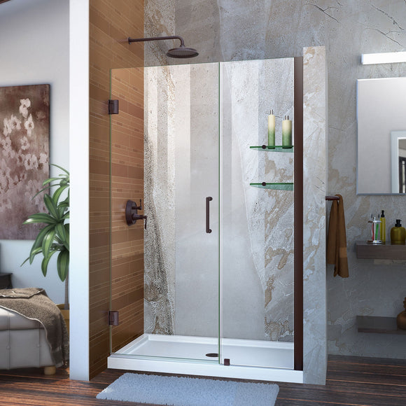 "DreamLine SHDR-20477210S-06 Unidoor 47-48""W x 72""H Frameless Hinged Shower Door with Shelves in Oil Rubbed Bronze"