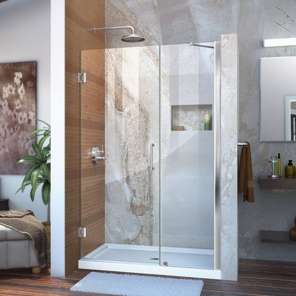 "DreamLine SHDR-20487210-01 Unidoor 48-49""W x 72""H Frameless Hinged Shower Door with Support Arm in Chrome"