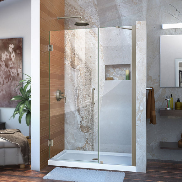 "DreamLine SHDR-20467210-04 Unidoor 46-47""W x 72""H Frameless Hinged Shower Door with Support Arm in Brushed Nickel - Bath4All"