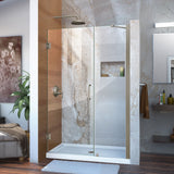 "DreamLine SHDR-20437210-04 Unidoor 43-44""W x 72""H Frameless Hinged Shower Door with Support Arm in Brushed Nickel - Bath4All"