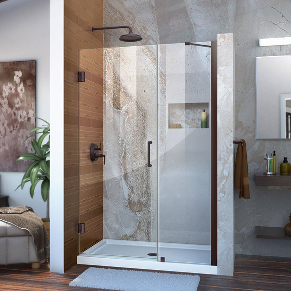 "DreamLine SHDR-20457210-06 Unidoor 45-46""W x 72""H Frameless Hinged Shower Door with Support Arm in Oil Rubbed Bronze"