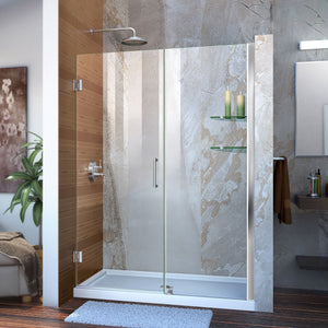 "DreamLine SHDR-20517210S-01 Unidoor 51-52""W x 72""H Frameless Hinged Shower Door with Shelves in Chrome - Bath4All"