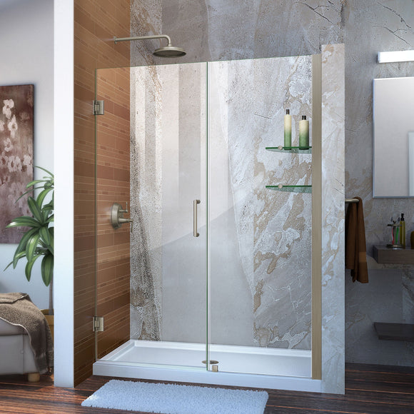"DreamLine SHDR-20477210CS-04 Unidoor 47-48""W x 72""H Frameless Hinged Shower Door with Shelves in Brushed Nickel"