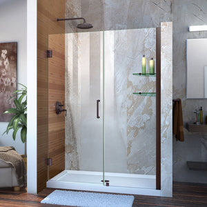 "DreamLine SHDR-20477210CS-06 Unidoor 47-48""W x 72""H Frameless Hinged Shower Door with Shelves in Oil Rubbed Bronze"