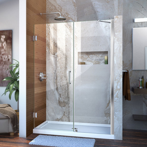 "DreamLine SHDR-20517210-01 Unidoor 51-52""W x 72""H Frameless Hinged Shower Door with Support Arm in Chrome"