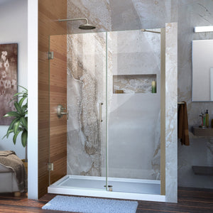 "DreamLine SHDR-20527210-04 Unidoor 52-53""W x 72""H Frameless Hinged Shower Door with Support Arm in Brushed Nickel - Bath4All"