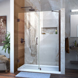 "DreamLine SHDR-20517210-06 Unidoor 51-52""W x 72""H Frameless Hinged Shower Door with Support Arm in Oil Rubbed Bronze"