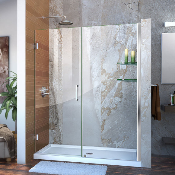 "DreamLine SHDR-20607210S-01 Unidoor 60-61""W x 72""H Frameless Hinged Shower Door with Shelves in Chrome - Bath4All"