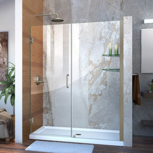 "DreamLine SHDR-20567210S-04 Unidoor 56-57""W x 72""H Frameless Hinged Shower Door with Shelves in Brushed Nickel - Bath4All"