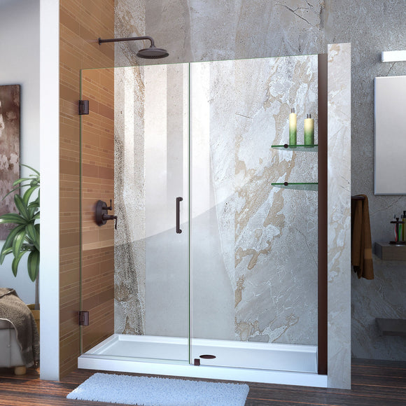"DreamLine SHDR-20567210S-06 Unidoor 56-57""W x 72""H Frameless Hinged Shower Door with Shelves in Oil Rubbed Bronze"