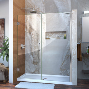 "DreamLine SHDR-20607210-01 Unidoor 60-61""W x 72""H Frameless Hinged Shower Door with Support Arm in Chrome - Bath4All"