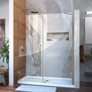 "DreamLine SHDR-20587210-04 Unidoor 58-59""W x 72""H Frameless Hinged Shower Door with Support Arm in Brushed Nickel"