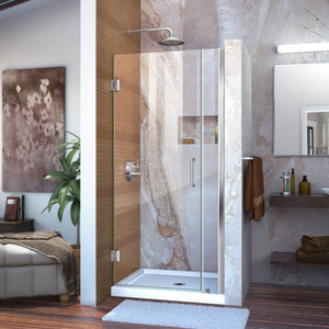 "DreamLine SHDR-20367210-01 Unidoor 36-37""W x 72""H Frameless Hinged Shower Door in Chrome"