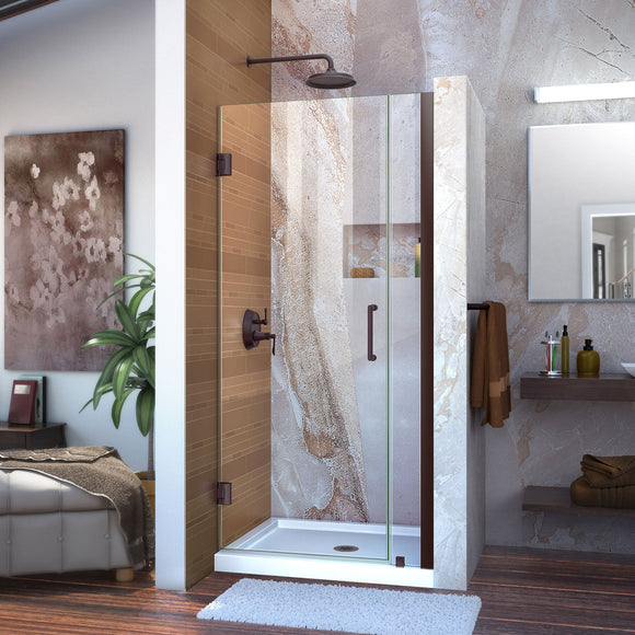 "DreamLine SHDR-20347210-06 Unidoor 34-35""W x 72""H Frameless Hinged Shower Door in Oil Rubbed Bronze"