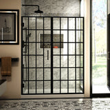 "DreamLine SHDR-2458720-89 Unidoor Toulon 58-58 1/2""W x 72""H Frameless Hinged Shower Door in Satin Black"
