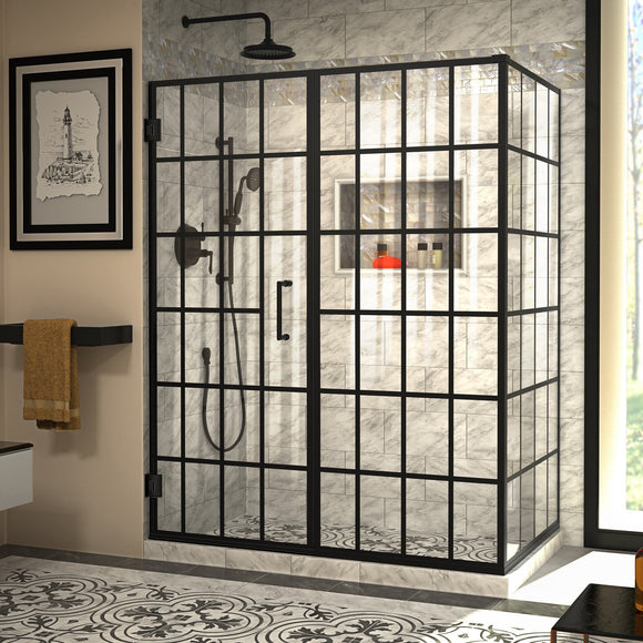 "DreamLine SHEN-2434580-89 Unidoor Toulon 34""D x 58""W x 72""H Frameless Hinged Shower Enclosure in Satin Black"