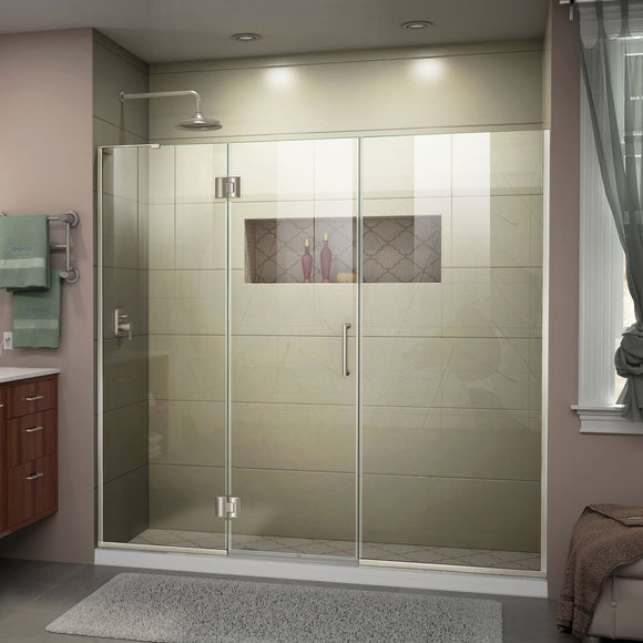 "DreamLine D3291472L-04 Unidoor-X 67-67 1/2""W x 72""H Frameless Hinged Shower Door in Brushed Nickel"