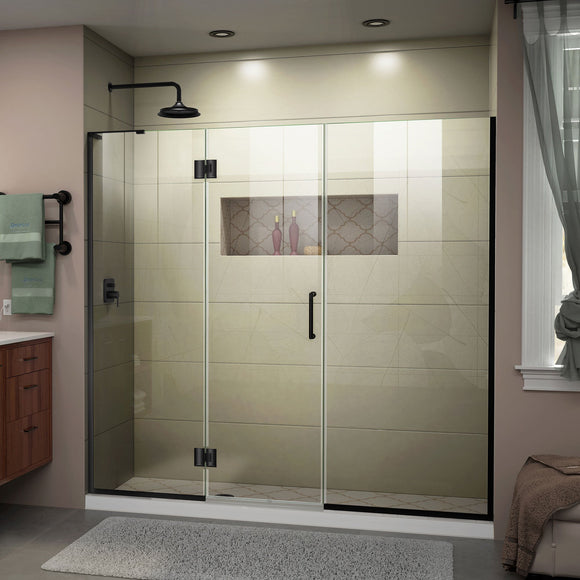 "DreamLine D3262272L-09 Unidoor-X 72-72 1/2""W x 72""H Frameless Hinged Shower Door in Satin Black"