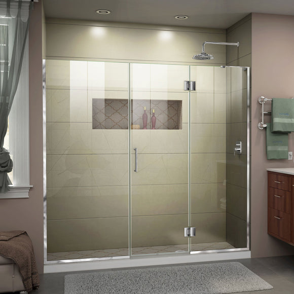 "DreamLine D3262272R-01 Unidoor-X 72-72 1/2""W x 72""H Frameless Hinged Shower Door in Chrome"