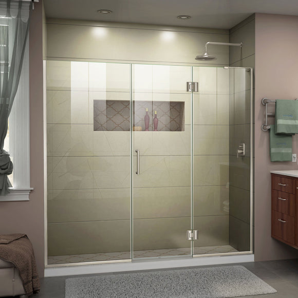 "DreamLine D3291472R-04 Unidoor-X 67-67 1/2""W x 72""H Frameless Hinged Shower Door in Brushed Nickel"