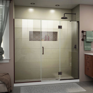 "DreamLine D32622572R-06 Unidoor-X 72 1/2-73""W x 72""H Frameless Hinged Shower Door in Oil Rubbed Bronze"
