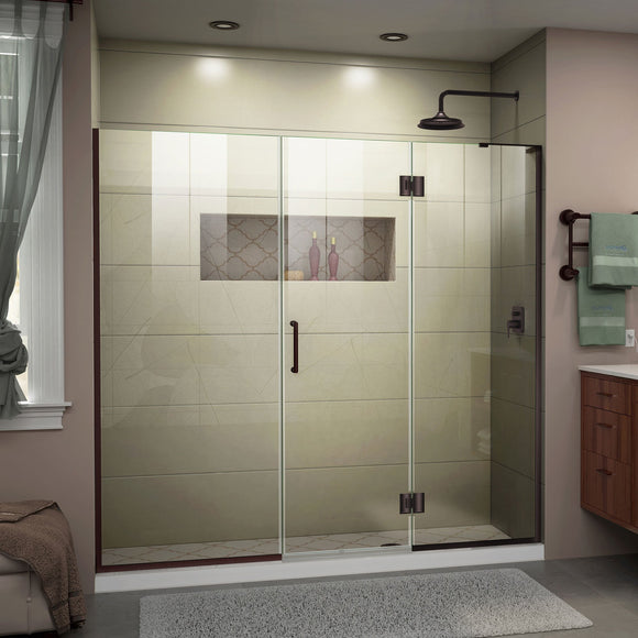 "DreamLine D3231472R-06 Unidoor-X 61-61 1/2""W x 72""H Frameless Hinged Shower Door in Oil Rubbed Bronze"