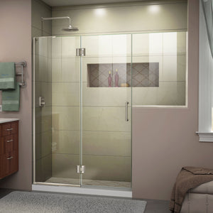 "DreamLine D3242434L-04 Unidoor-X 72-72 1/2""W x 72""H Frameless Hinged Shower Door in Brushed Nickel"