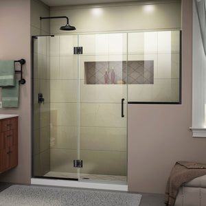 "DreamLine D3242434L-09 Unidoor-X 72-72 1/2""W x 72""H Frameless Hinged Shower Door in Satin Black"