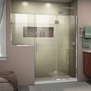"DreamLine D3232436R-01 Unidoor-X 71-71 1/2""W x 72""H Frameless Hinged Shower Door in Chrome"